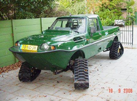 Dutton amphibious car on tracks