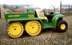 John Deere Quad Track http://www.unusuallocomotion.com/pages/more-documentation/19-semi-tracked-wheel-cum-track-vehicles.html