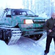 Lada on tracks, homemade