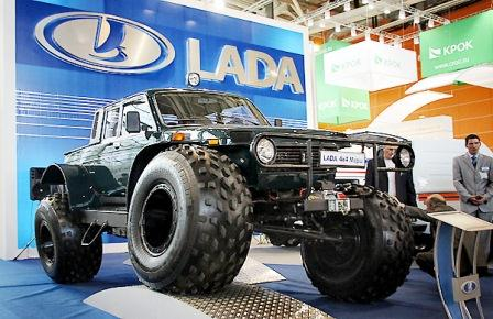 Lada with low pressure tyres and Avtoros wheels